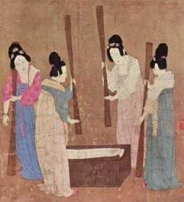 court ladies making silk east and silk fabric