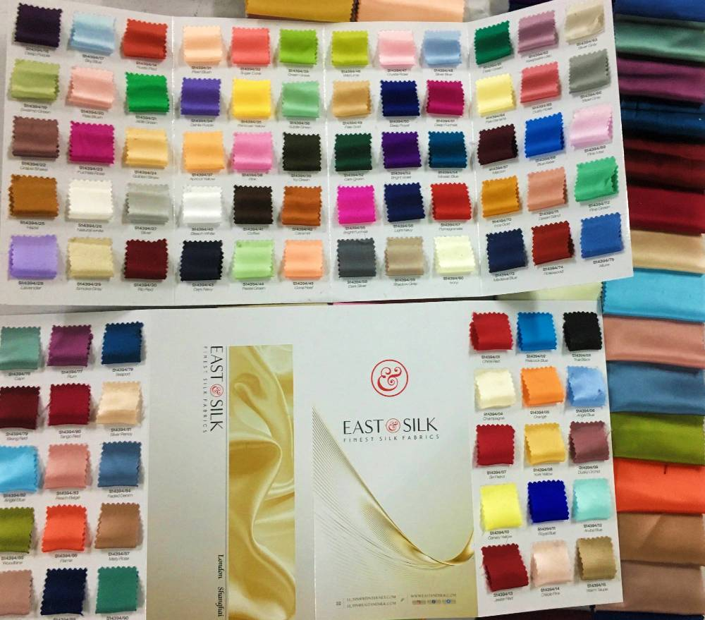east and silk satin colour card 90 colours